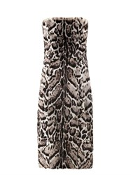 Christopher Kane Jaguar Print Goat Hair And Leather Dress