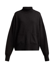 Raey Pocket Front Roll Neck Cashmere Sweater Black