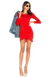 Bobi Supreme Jersey Long Sleeve Ruched Mini Dress Red