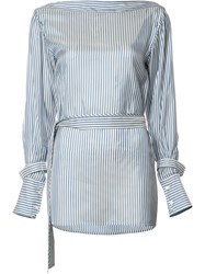 Calvin Klein Striped Belted Blouse White