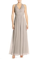 Women's Dessy Collection Ruched Chiffon V Neck Halter Gown Taupe