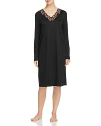 Hanro Valencia Long Sleeve Gown Black