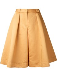 Jil Sander Navy Wide Leg Cropped Trousers Yellow Orange