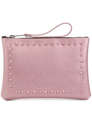 Gum Stud Detailed Clutch Bag Pink And Purple