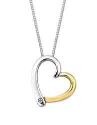 Lord And Taylor Sterling Silver 14 Kt. Yellow Gold Diamond Heart Pendant