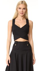 Derek Lam Cross Over Crop Top Black