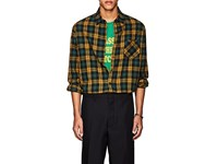Adaptation Checked Cotton Wool Flannel Shirt Gold