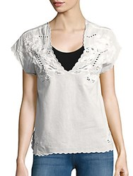 Zadig And Voltaire Tribu Vin Brode Embroidered Top Blan