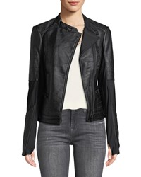 Blanc Noir Ryder Faux Leather Moto Jacket With Stretch Knit Inserts Black Gray