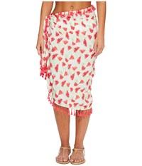 San Diego Hat Company Bss1807 Woven Watermelon Print Sarong Cover Up Pink Scarves