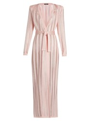 Balmain Long Sleeved Striped Knit Cardigan Light Pink