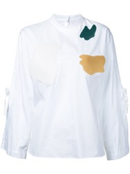Toga Flared Tied Longsleeves Blouse Women Cotton 36 White