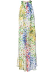 Monique Lhuillier Splatter Print Neck Embellished Long Dress White