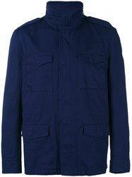 Massimo Piombo Mp Washed Field Jacket Men Cotton Viscose 46 Blue