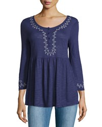 Neiman Marcus Embroidered Long Sleeve Henley Tunic Navy Blue