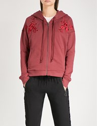 The Kooples Burgundy Zippered Sweatshirt With Floral Red08