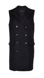 Tibi Faux Astrakan Wool Double Breasted Long Vest