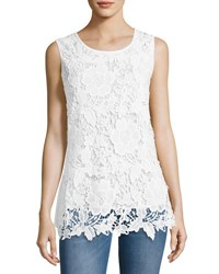 Liv Los Angeles Lace Front Knit Tank White