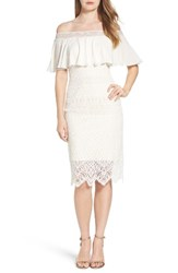 Tadashi Shoji Women's Off The Shoulder Sheath Dress Ivory Primrose