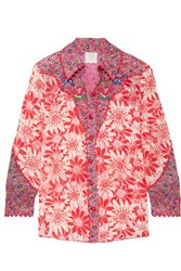 Anna Sui Embroidered Printed Silk Crepon Shirt Pink
