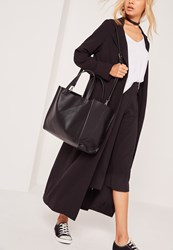 Missguided Clean Edge Textured Tote Bag Black Black