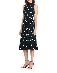 Lauren Ralph Lauren Petite Polka Dot Crepe Midi Dress Black Cream