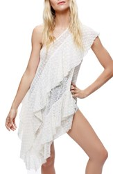 Free People Women's Girls Girls Girls One Shoulder Lace Tunic White