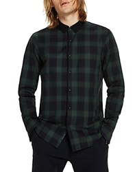 Scotch And Soda Plaid Contrast Long Sleeve Button Down Shirt Green Combo