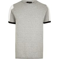 River Island Grey Marl Knit Mesh Panel Slim Fit Jumper