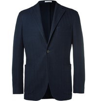 Boglioli Blue K Jacket Cotton Hopsack Blazer Navy