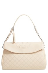Tory Burch Fleming Leather Foldover Hobo Ivory New Cream