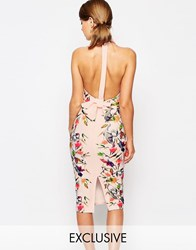 True Violet High Neck Pencil Dress With Bow Back Nude Floral