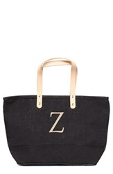 Cathy's Concepts 'Nantucket' Personalized Jute Tote Grey Black Z