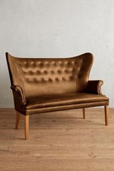 Anthropologie Premium Leather Wingback Bench Caramel