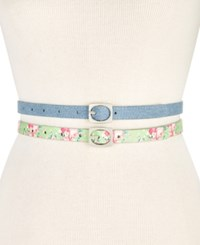 Inc International Concepts I.N.C. 2 For 1 Textured Skinny Belt Set Created For Macy's Blue Jean