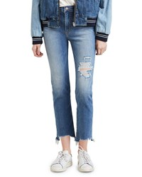 Levi's Premium 724 High Rise Distressed Straight Cropped Jeans Blue