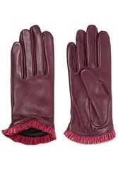 Agnelle Josie Bow Embellished Ruffled Leather Gloves Claret