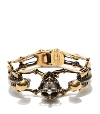 Alexander Mcqueen Twin Skeletons And Crown Bracelet Female Silver