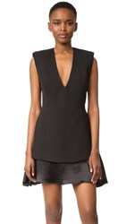 Brandon Maxwell V Neck Mini Dress Black