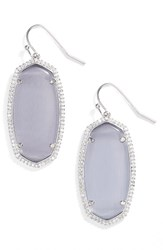 Kendra Scott Women's Elle Pave Drop Earrings Slate Cats Eye Silver