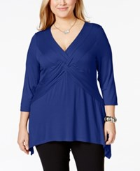 Ny Collection Plus Size Three Quarter Sleeve Twist Front Top Surf The Web