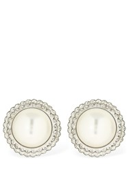 Alessandra Rich Imitation Pearl And Crystal Earrings White