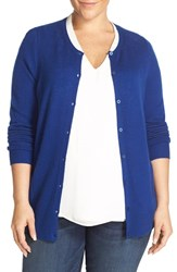 Sejour Plus Size Women's Crewneck Wool And Cashmere Cardigan Blue Mazarine