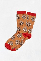 Urban Outfitters Squirrel Sock Orange