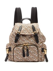 Burberry Tb Print Mini Leather Trimmed Backpack Beige Multi
