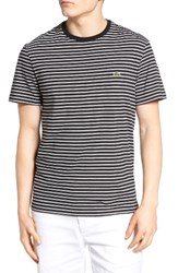 Lacoste Men's Striped T Shirt Black White