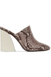 Mercedes Castillo Abia Snake Effect Leather Mules Snake Print