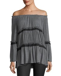 Lumie Tiered Off The Shoulder Tunic Charcoal