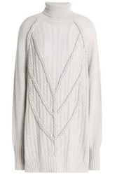Belstaff Cable Knit Wool And Cashmere Blend Turtleneck Mini Dress Gray