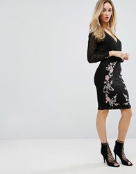 Lipsy Embroidered Lace Pencil Skirt Multi Black